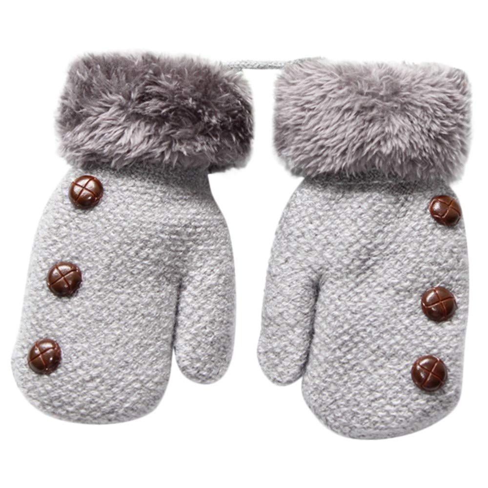 Hongxin Plus Velvet Full Finger Warm Gloves, Button Design Thicken Warm Knitted Mittens