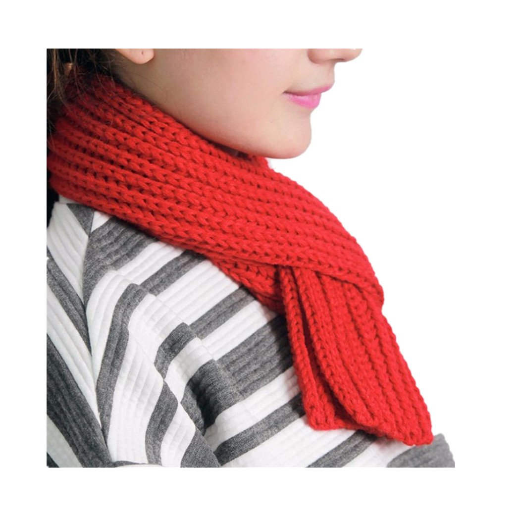 Bomdes Women Men Winter Solid Color Knitted Cute Rough Wool Scarf Neck Collar Hao Tech