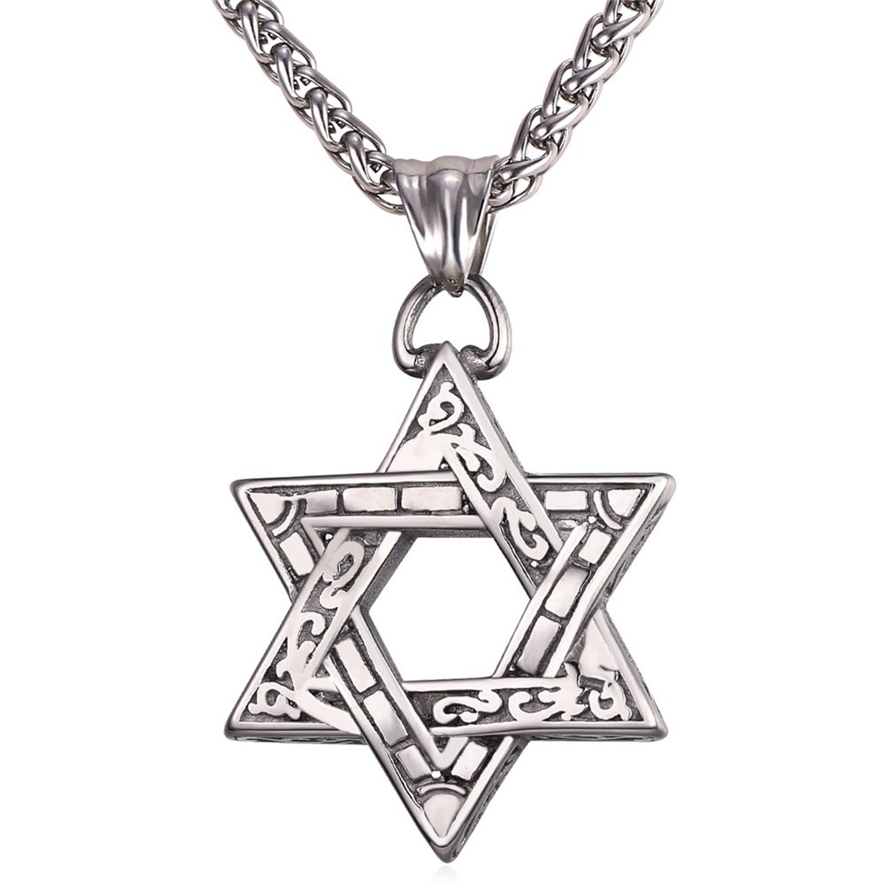 U7 Jewish Jewelry Vintage Style Amulet Pendant for Men & Women Chain 22 Inch Stainless Steel Star of David Necklace