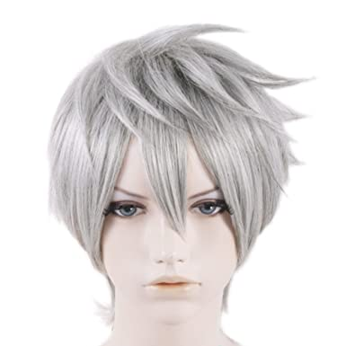 halloween costume jack frost movie cosplay wig 35cm short silver gray hair accessories for men