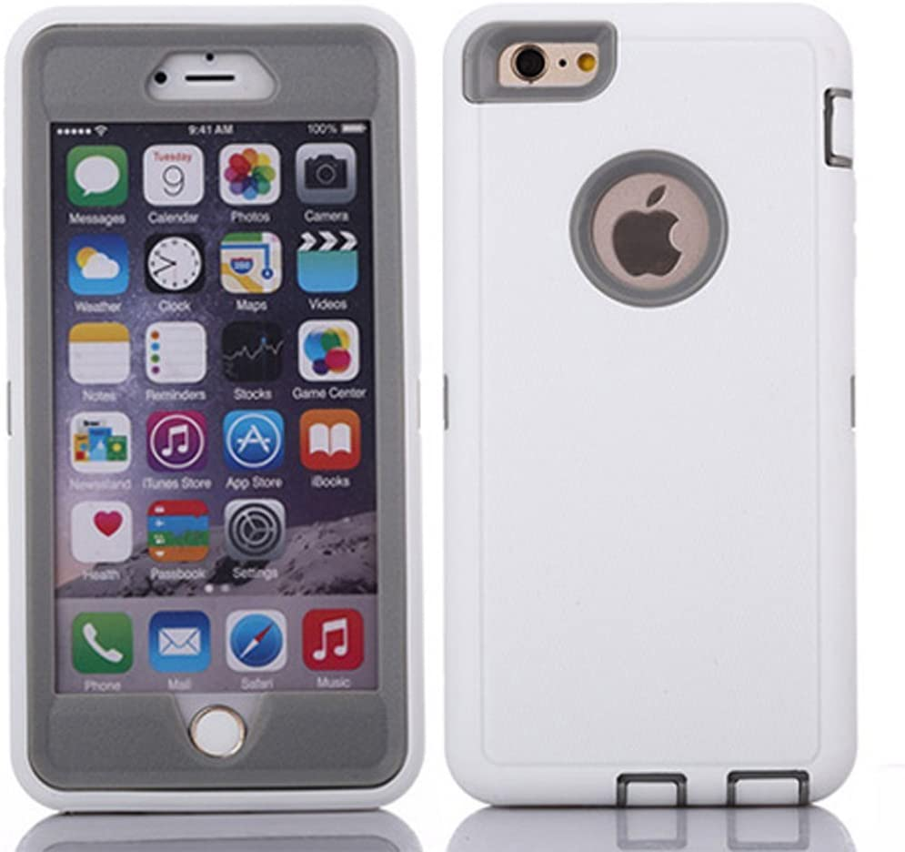 """Crosstreesports iPhone 6 Case iPhone 6s Case Heavy Duty Shockproof Series Case for iPhone 6/6S (4.7"""")-V2 with Built-in Screen Protector Compatible with All US Carriers - White and Grey"""