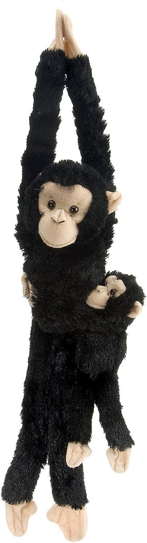 Wild Republic - Hanging Monkey Peluche Chimpancé, mamá y bebé, 51 cm (15265)