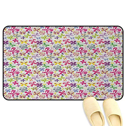 homecoco Butterfly Bath Mat Non Slip Spring Season Themed Blooming Nature Inspired Flora and Fauna Pattern Swirls Multicolor 3D Digital Printing Mat W19 x L31 INCH