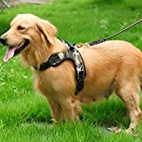Fosinz Outdoor Adjustable Dog Harnesses with Reflective Strap for Training Walking (Oxford Fabric Camo, S)