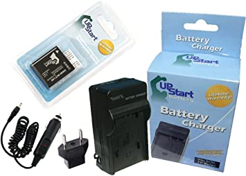 Replacement for Panasonic DMC-FH20 Battery and Charger with Car Plug and EU Adapter - Compatible with Panasonic DMW-BCF10 Digital Camera Batteries and ...