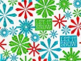 Pack of 1, Let It Snowflake 18'' x 417' Half Ream Gift Wrap (Metallized) for Holiday, Party, Kids' Birthday, Wedding & Special Occasion Packaging