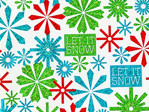 Pack of 1, Let It Snowflake 18'' x 417' Half Ream Gift Wrap (Metallized) for Holiday, Party, Kids' Birthday, Wedding & Special Occasion Packaging by Generic