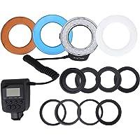 Serounder Luz de Relleno operada a batería de 48pcs LED Bead Ring Flash con filtros de Color Adaptador para Canon, Nikon, Pentax, Olympus, Panasonic