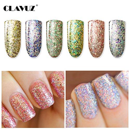 CLAVUZ Gel Polish 6pcs Soak Off Starry Glitter Super Bling Gel Nail Lacquer Set Glitter Nail Art Manicure New Starter Gift Kit