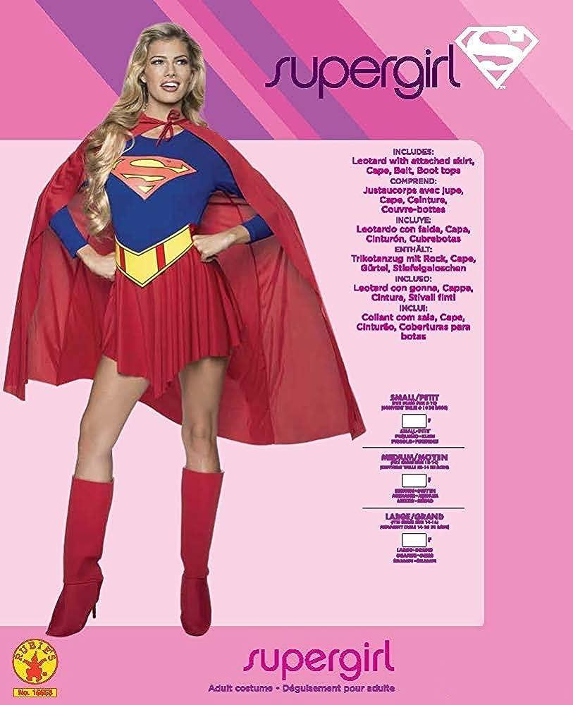 Supergirl Crop Top DC Comics Superhero Fancy Dress Up Halloween Adult Costume