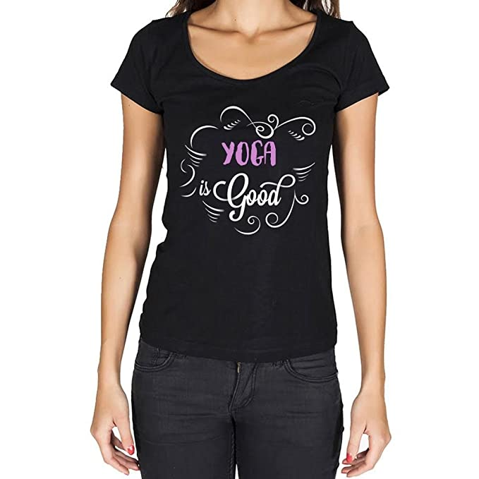 Yoga is Good Mujer Camiseta Negro Regalo De Cumpleaños: Amazon.es: Ropa y accesorios