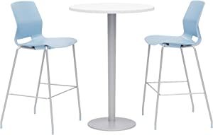 Olio Designs Dining Room Furniture, Designer White Table, Sky Blue Stools