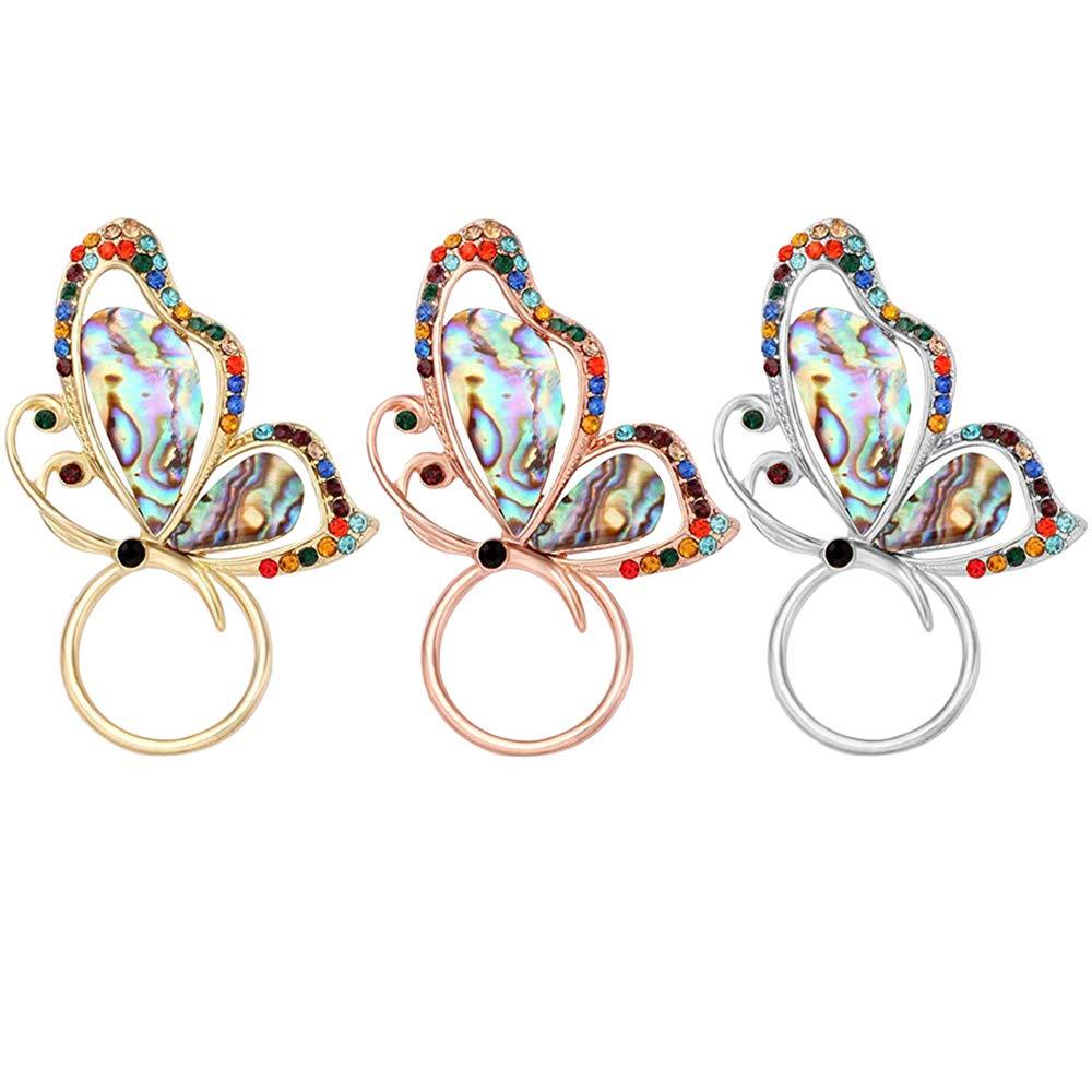 SENFAI Abalone Paua Shell Butterfly Magnet Brooch Eyeglass Holder (Gold + Rose Gold + Silver)