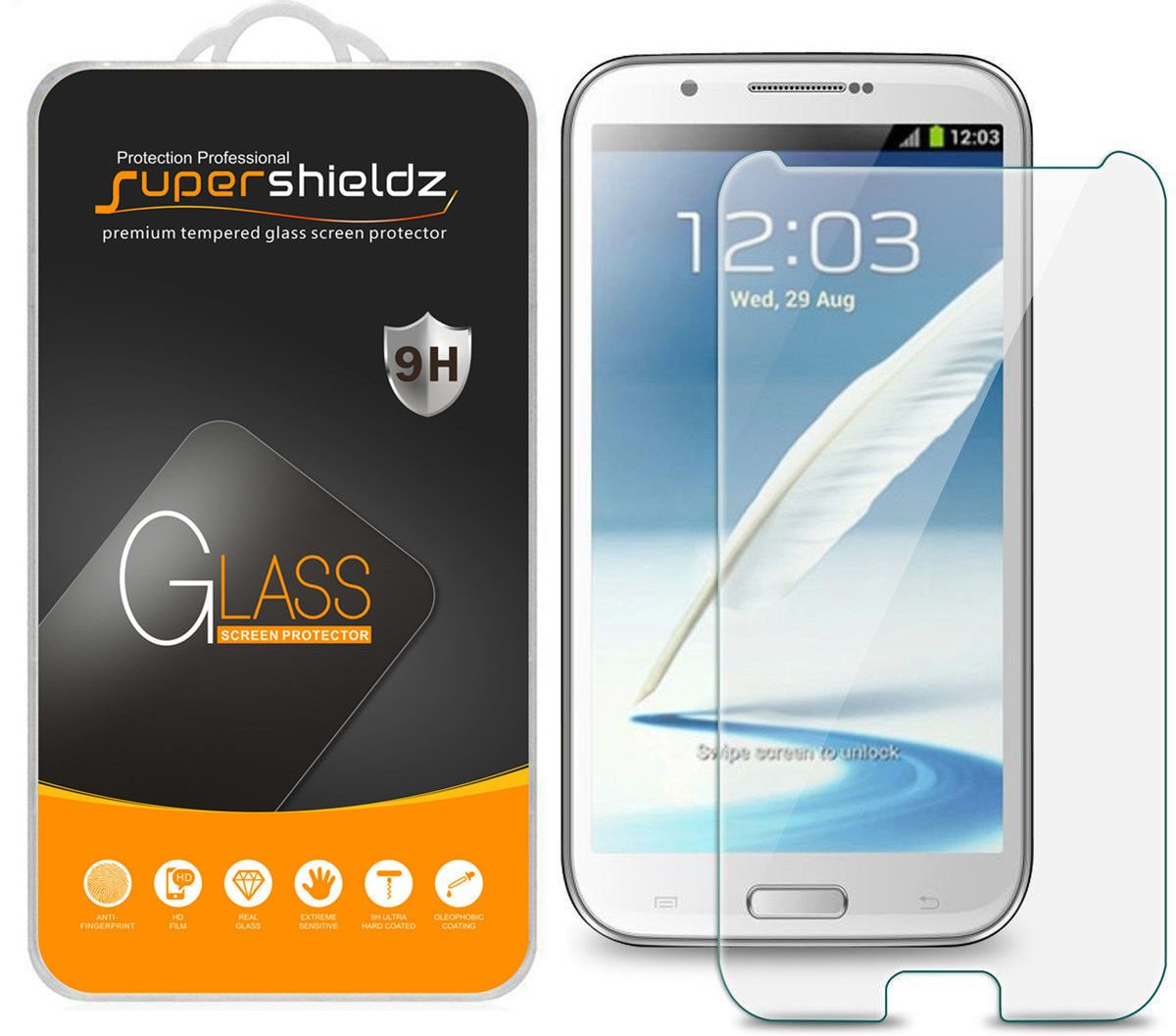 [2-Pack] Supershieldz for Samsung Galaxy Note 2 / N7100 Tempered Glass Screen Protector, Anti-Scratch, Anti-Fingerprint, Bubble Free, Lifetime Replacement Warranty