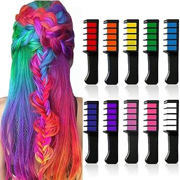 Amazon.com: Juego de tiza de pelo brillante de 10 colores ...