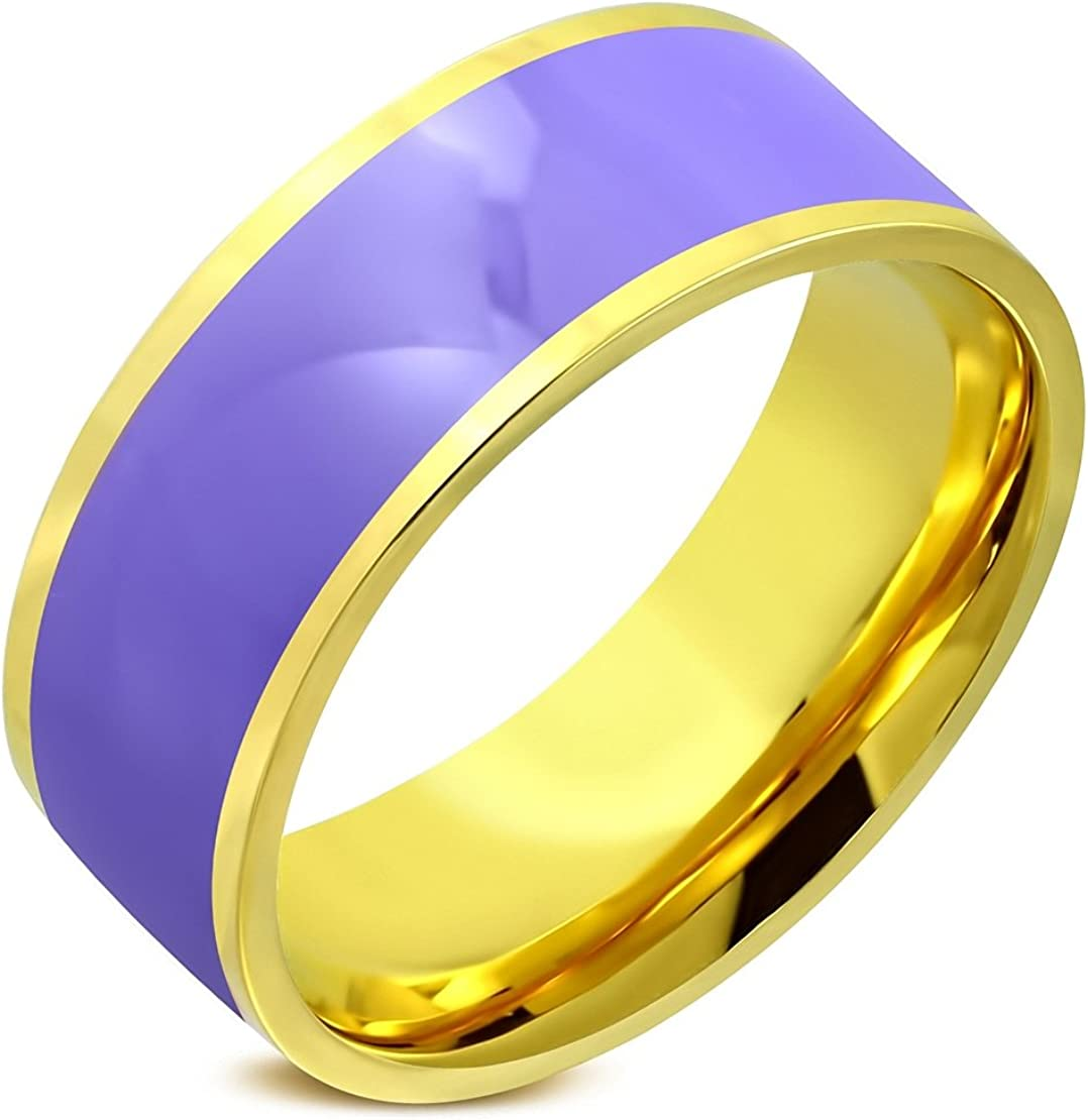 Stainless Steel Gold Color Plated 2 Color Purple// Violet Enameled Comfort Fit Flat Band Ring