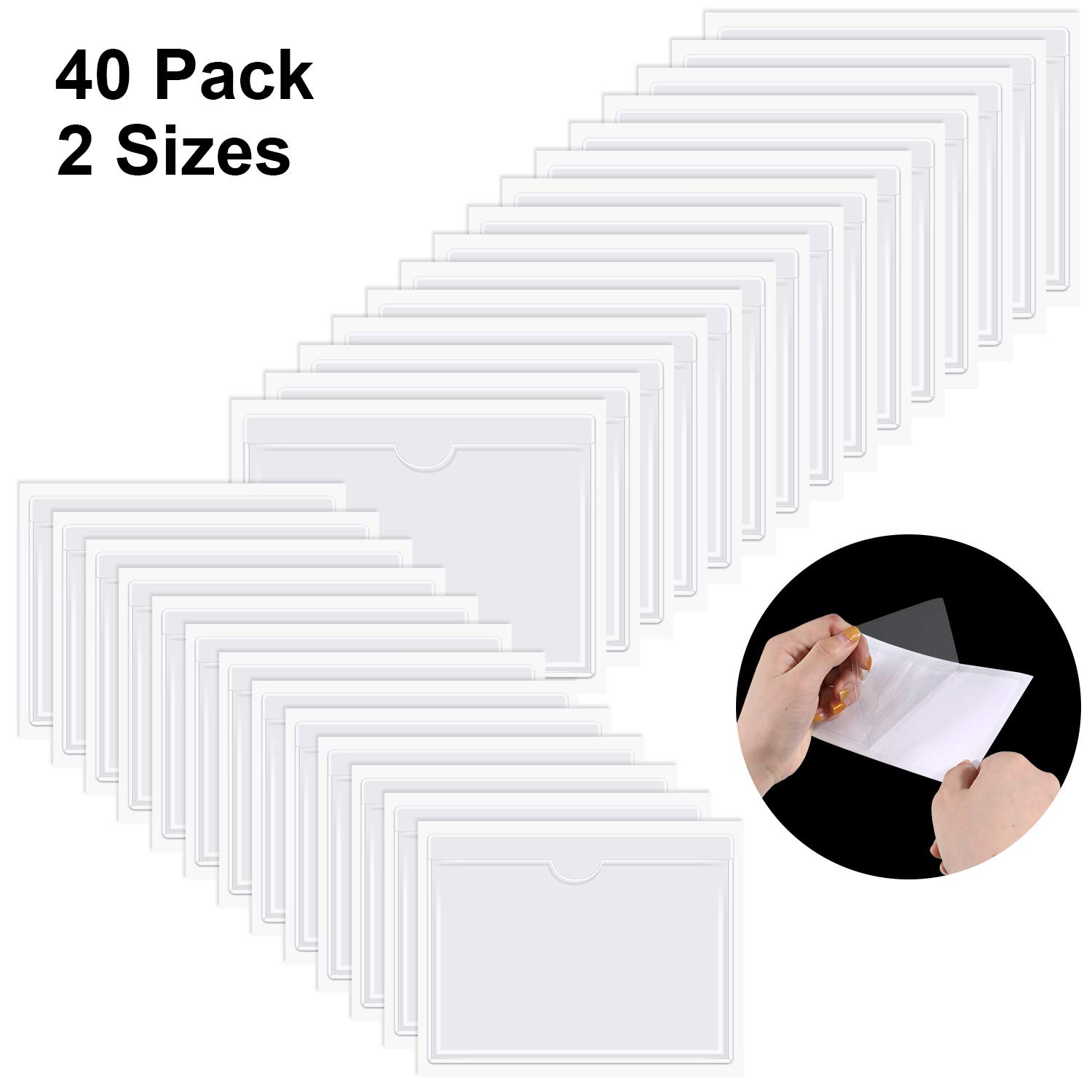 40 Pieces Self-Adhesive Card Pocket Label Pockets Self-Adhesive Business Card Holders for Organizing and Protecting Index Cards, Business Cards or Photos, 2 Sizes by Outus