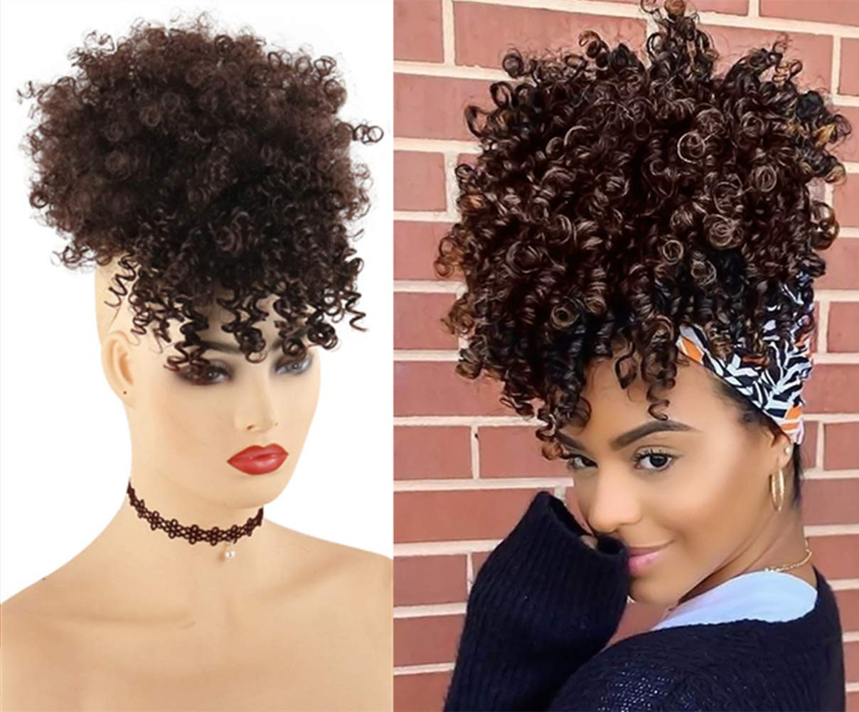 Amazon Com Chooh Afro High Puff Hair Bun Ponytail Drawstring With Bangs Synthetic Short Kinkys Curly Pineapple Pony Tail Clip In On Wrap Updo Hair Extensions For African American Women 4 Beauty