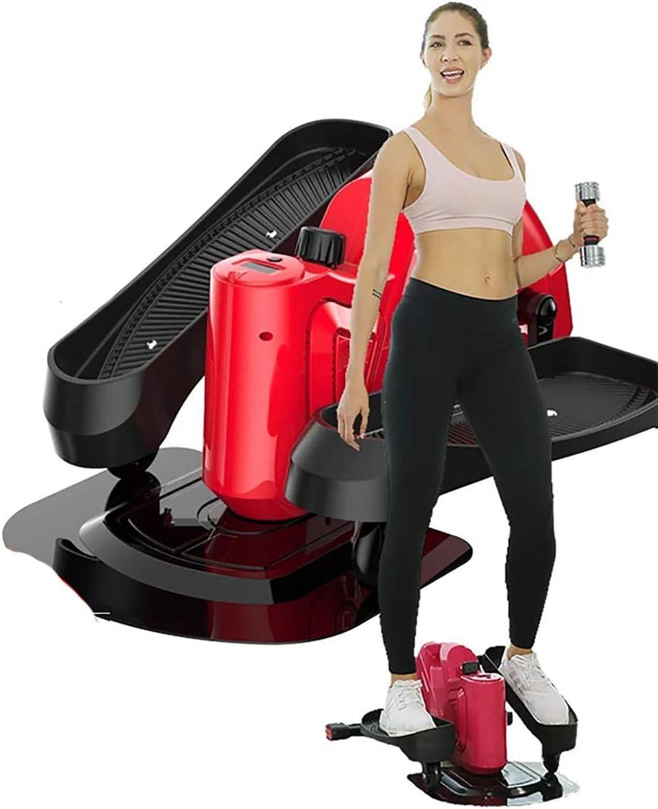 ミニステッパーウルトラクワイエット磁気制御楕円ツイストマシン好気性運動燃焼カロリー調整可能ステッパー運動機器 赤