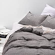 Dotted Duvet Cover Set Queen, 100% Soft Cotton Bedding, Simple White Dots Modern Pattern Printed on Dark Gray Grey, with Zipper Closure (3pcs, Queen Size)