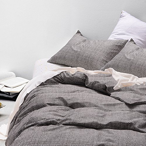 Dotted Gray Duvet Cover Set, 100% Cotton Bedding, White Dots Modern Pattern Printed on Dark Grey, with Zipper Closure (3pcs, Queen (Pattern Zipper)