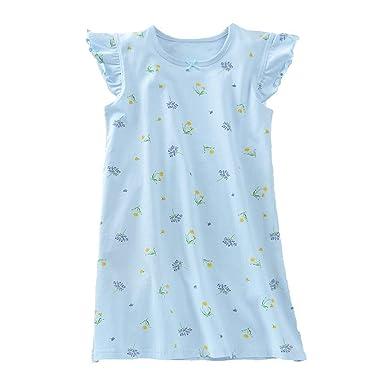 KEREDA Girls Nighties Cotton Heart Print Princess Style Nightdresses Kids Nightwear for 2-10 Years