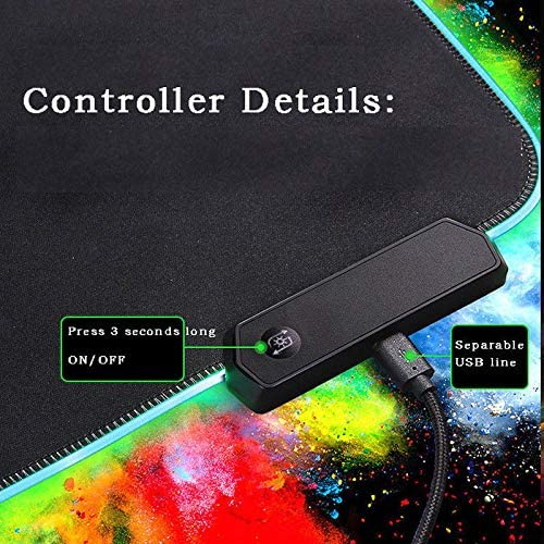 Redcolourful Large RGB Colorful LED Lighting Gaming Mouse Pad Mat for PC Laptop 7803004mm