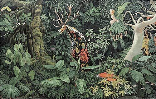 Zylbz Wallpaper Decoration Hand Painted Giraffe Jungle Lush Tropical Rainforest Large Mural Cafe Lounge Custom Personalized Mural-450cmx300cm ()