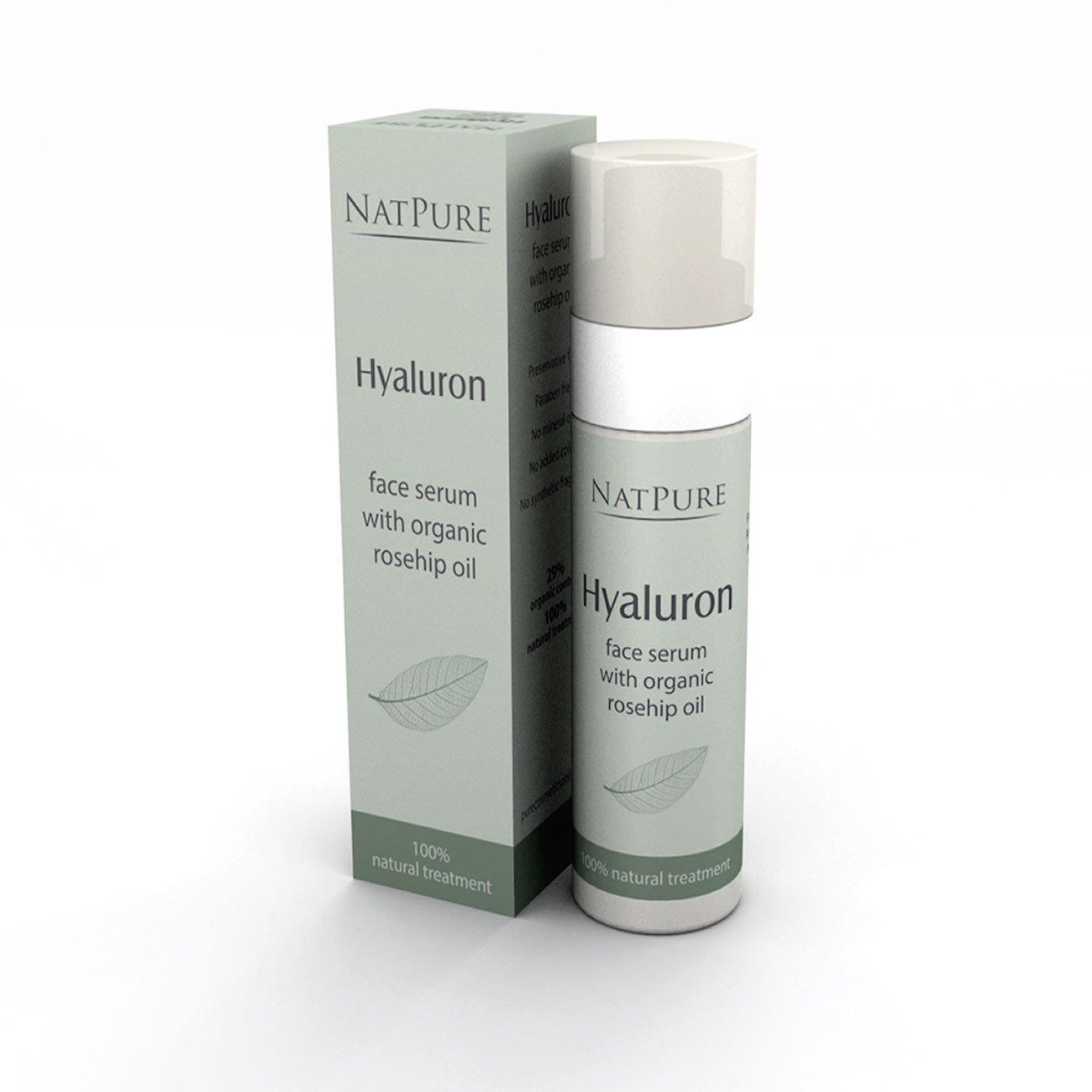 NatPure 100% Natural facial serum Suero de cara al natural con ácido hialurónico y aceite de escaramujo biológico: Amazon.es: Belleza