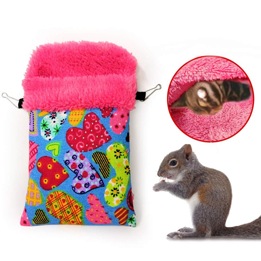 Alamana Hamster Squirrel Bird Nest Hanging Hammock Small Animal Bed House Pet Supplies - Blue S