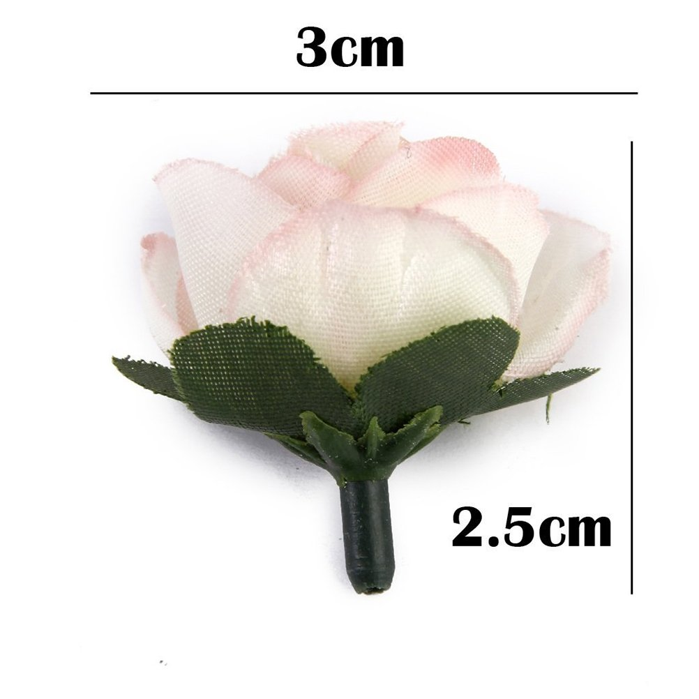 AX-AY-ABHI-78360 Tinksky 50pcs 3cm Artificial Roses Flower Heads Wedding Decoration Pink