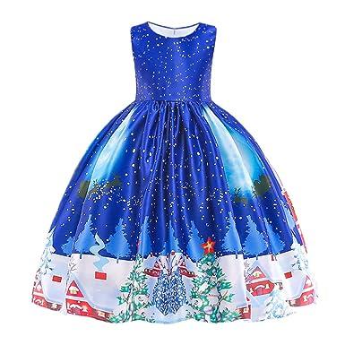 89394a075e521 HUAANIUE Robe de Princesse de Noël Robe de Cérémonie Fille Mariage Robes  Soirée sans Manches 2