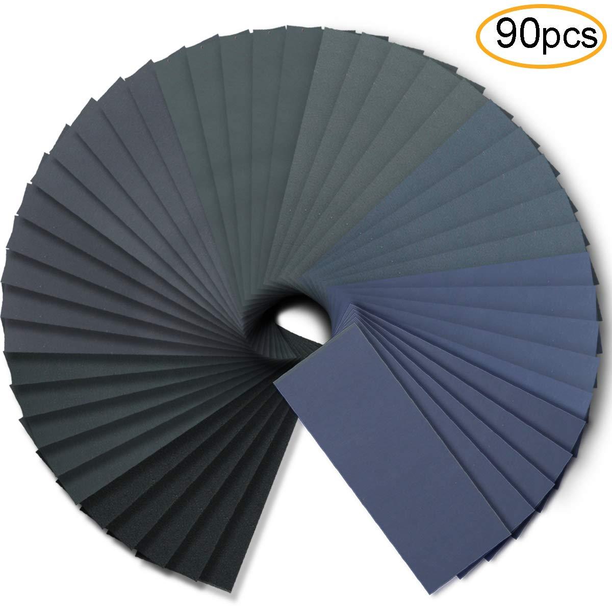 Wet Dry Sandpaper, Assortment 240-3000 Grit for Automotive Wood Plastic Sanding, 90pcs by FRIMOONY