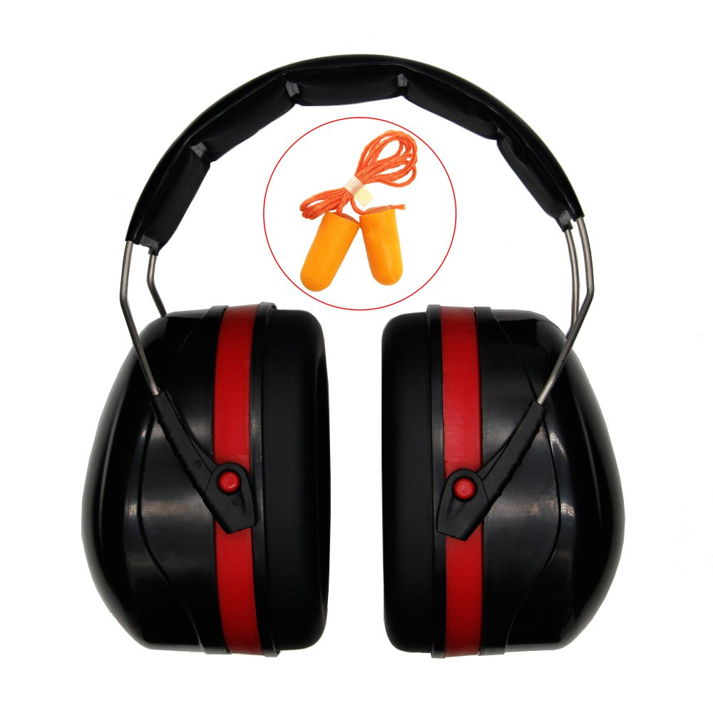 Safety Ear Muff Ear Protection,Adjustable Folding Ear Defenders Maximum Noise Cancelling Headphones with Ultra Soft Foam Earplugs for Gardening,Working, Hunting, Shooting or Construction36 dB SNR