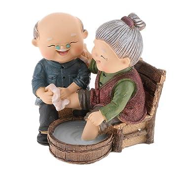 Homyl Couple Vieux Figurine En Résine Sculpture Décor De