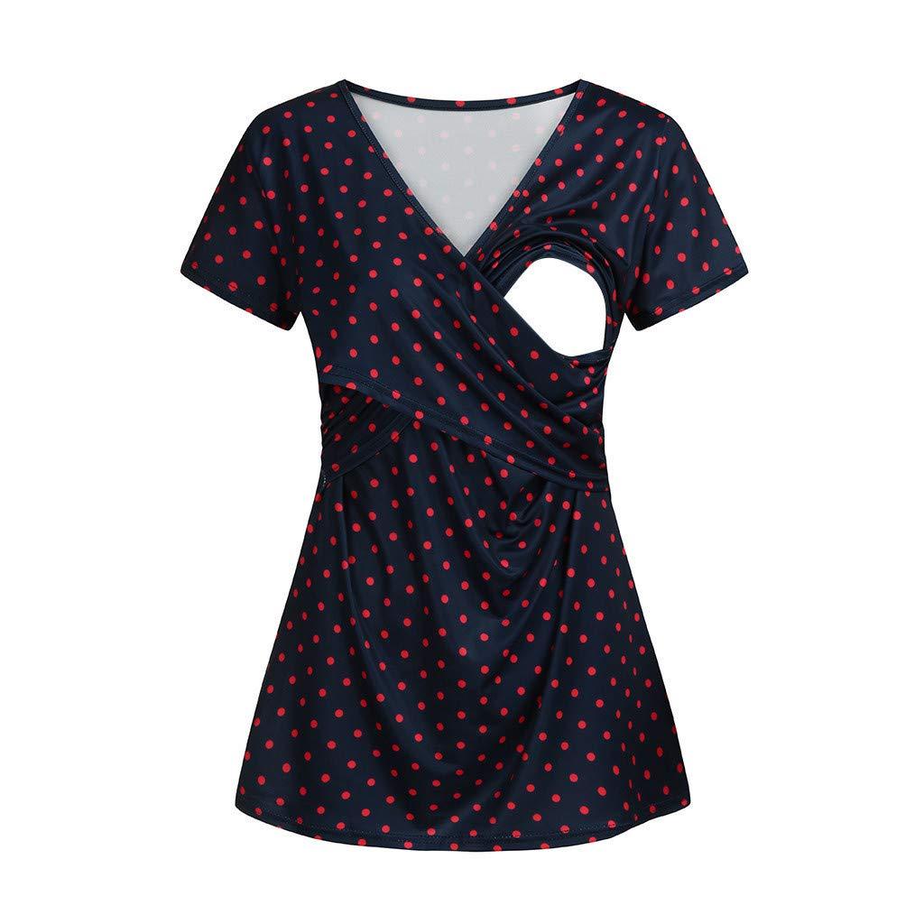 Juliyues Umstandstop Stillshirt Damen Mutterschaft Stilloberteil mit Punktmuster Umstandsmode Stillen Oberteile Schwangerschaft T-Shirt Umstandsshirt Umstandskleidung