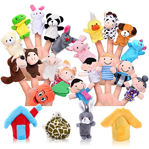 Biging 24 Pieces Finger Puppets Set Cloth Plush Doll Baby Educational Hand Cartoon Animal Toys with 15 Animals, 6 People Family Members, 2 Pieces House and 1 Piece Carrot (Finger Puppets People)