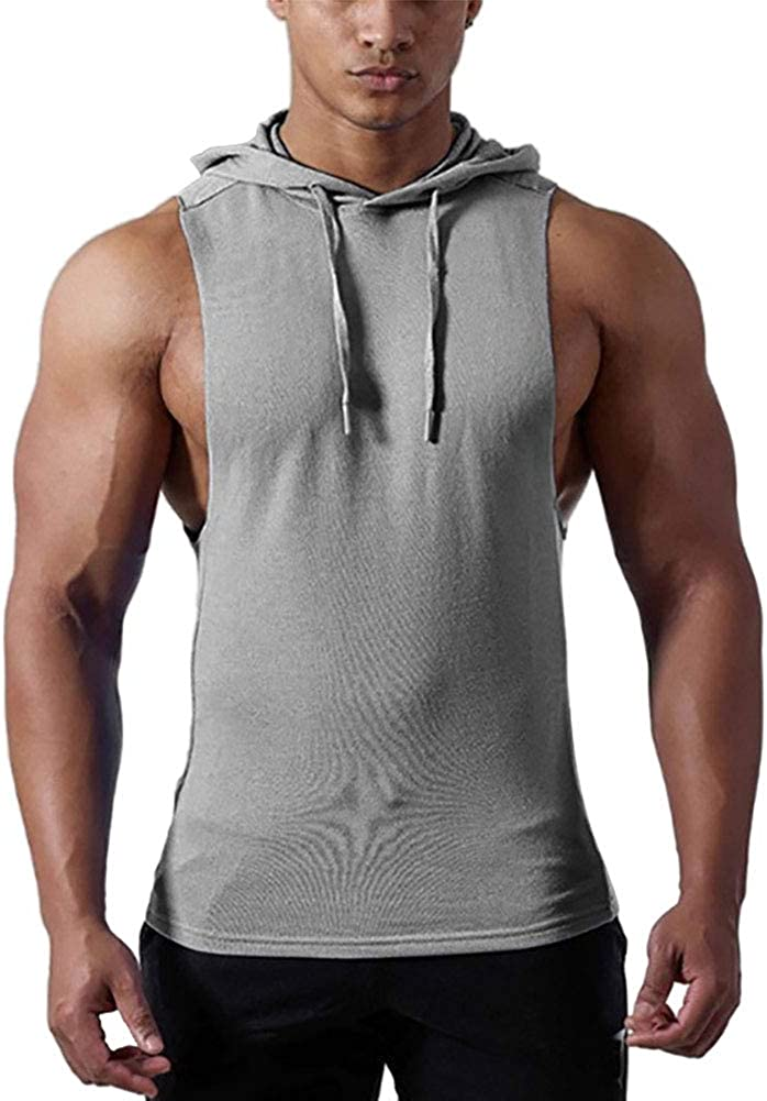 Mens Tank Tops Shirts Workout Sports Sleeveless Hoodie Vest Summer Bodybuilding Muscle Gym T Shirt Tops