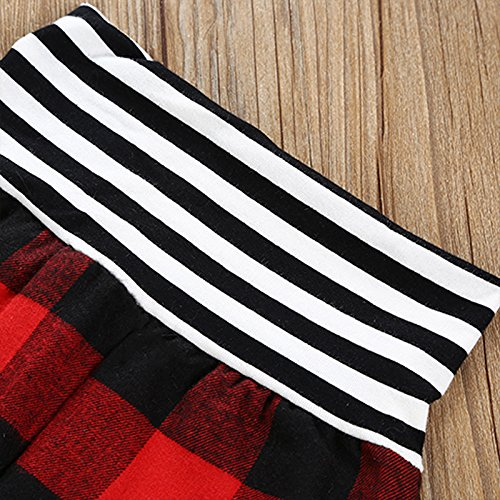 MIOIM Infant Toddler Baby Girls Boys Red Black Plaid Long Sleeve Hoodie Tops Leggings Outfits 3 Pcs Clothes Set