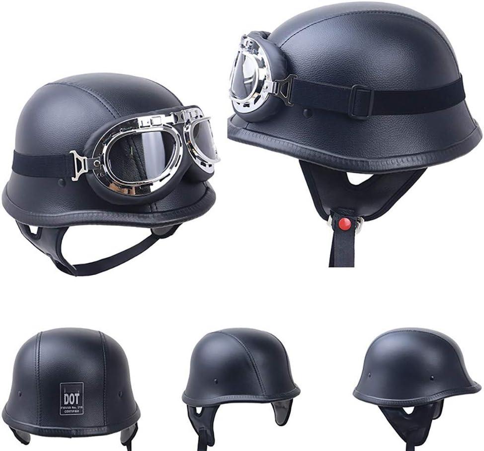 BAOB Casque Moto avec Lunettes de Protection UV Casque de Moto Vintage Harley Moiti/é Helmets de Casque Moto Jet Scooter Touring Retro ECE//Dot certifi/é