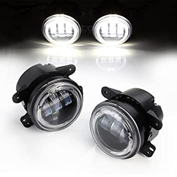 Xprite 4 Inch 60W Cree Led Fog Lights W/ White Halo Ring DRL W/