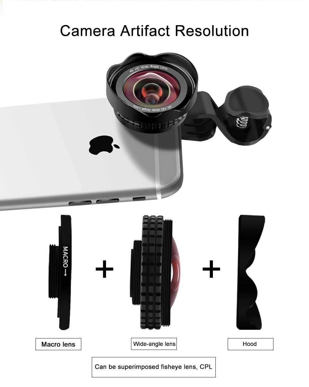 Huawei HTC /& Die meisten Smartphone,Schwarz Handy Objektiv Clip-On 180/° Objektiv /& 0,45X HD 120/°Weitwinkel /&20X Makro-Objektiv HD Handy Objektiv Set Kamera Objektiv Kits f/ür Samsung