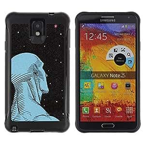 Suave Caso Carcasa de Caucho Funda para Samsung Note 3 Man Art Deco Stars Wonder Deep Ufo / JUSTGO PHONE PROTECTOR