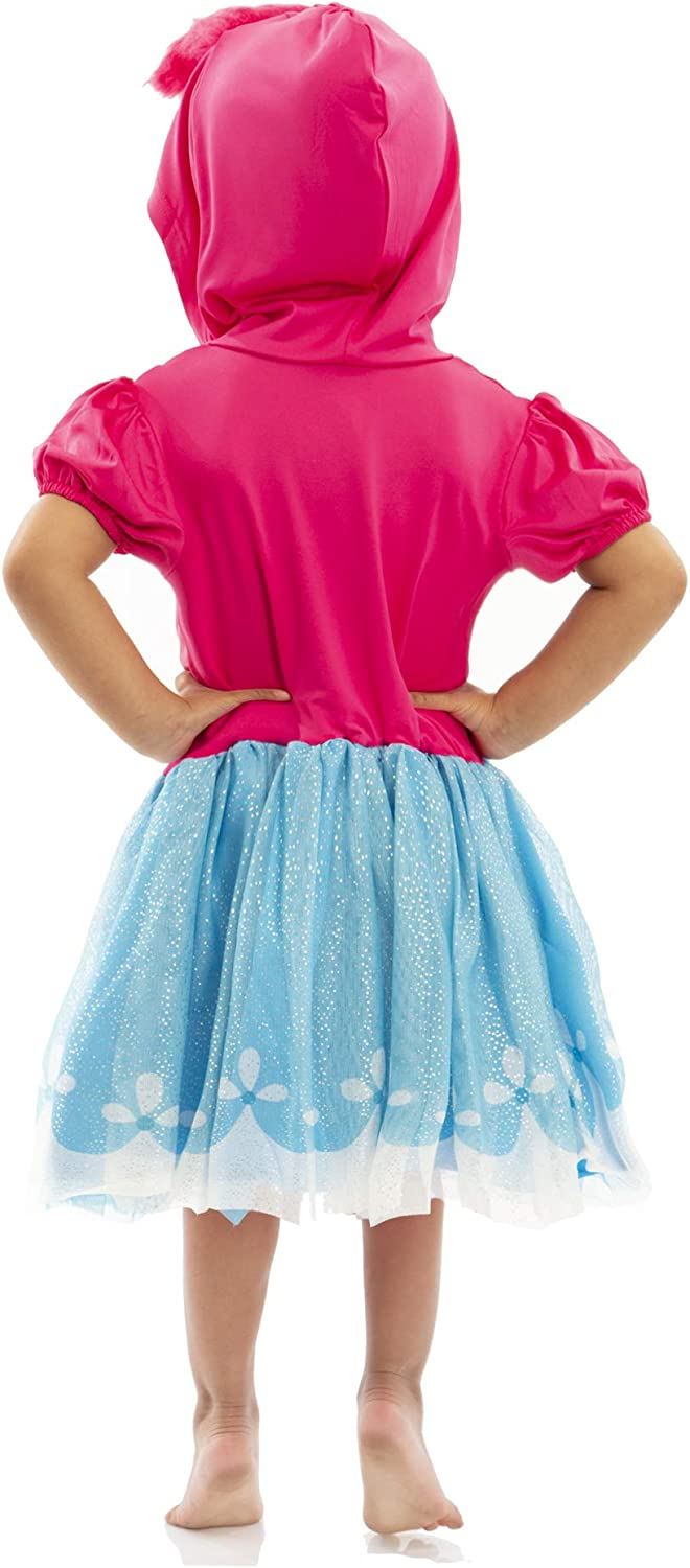 Trolls Poppy Toddler Girls Costume Dress with Hood and Fur Hair Pink and Blue