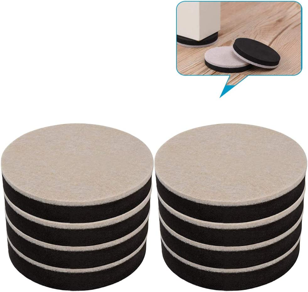 Pack of 8 Felt Sliders, 4 3/4 Inches Round Moving Pads for Heavy Furnitures, Non-Stick, Removable and Reusable, for Hardwood, Tile and Other Hard Surfaces