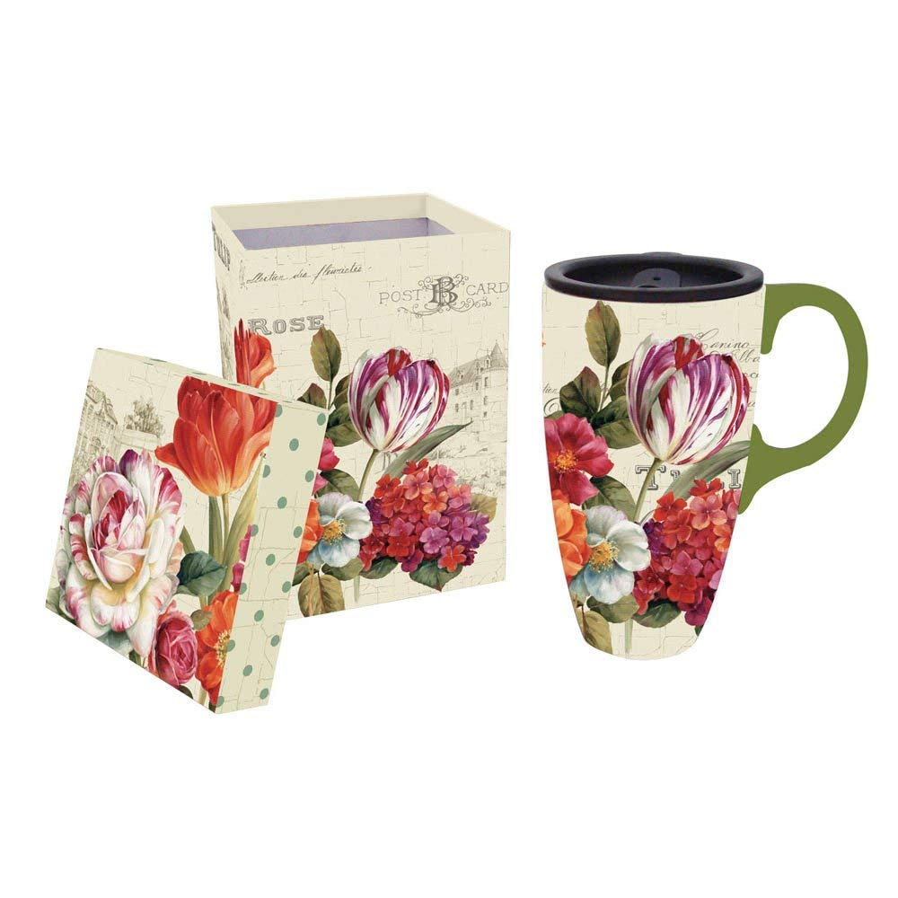 "Cypress Home Garden View Flowers 17 oz Boxed Ceramic Travel Latte Cup with Lid - 3.5""W x 5""D x 5""H"
