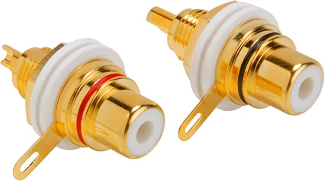 Brass Female RCA Jack Connector Terminal High end Gold plated Panel mount Lot*8