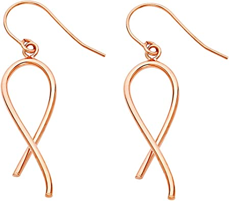 Breast Cancer Ribbon of Awareness Charm Rose Gold 14K