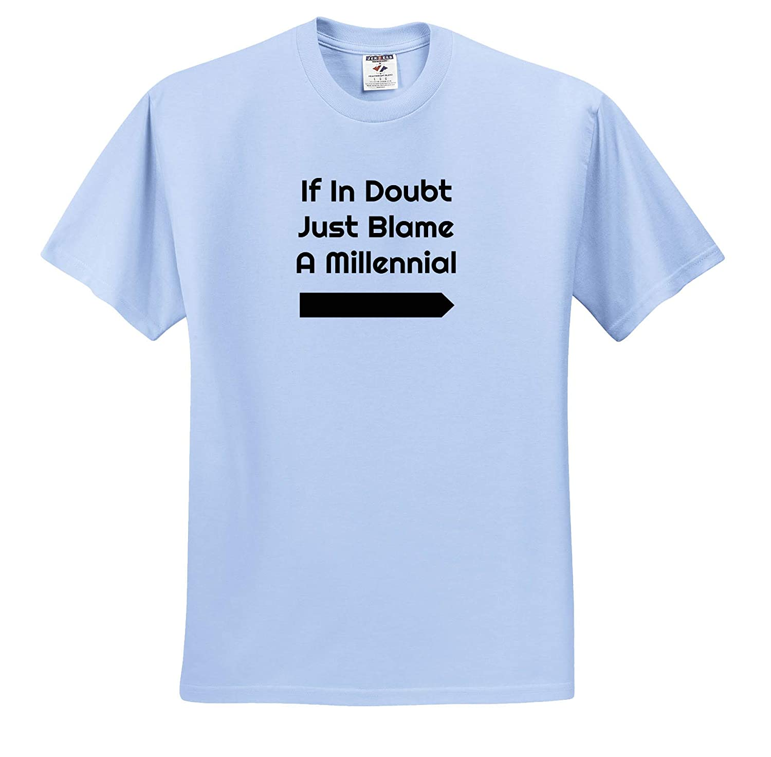 Adult T-Shirt XL ts/_312301 Image of If in Doubt Blame A Millennial 3dRose Carrie Merchant Quote
