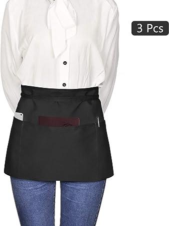Viedouce Delantales de Cintura, Delantal Corto con 3 Bolsillos para Restaurante Chef Camarero Bartender Mitad,Delantale de Cocina para Hombres Mujeres, Negro (3 Piezas): Amazon.es: Hogar